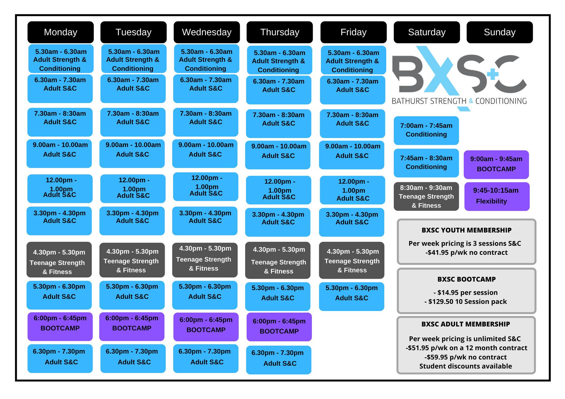 Class Timetable (December 2020) | Bathurst Strength & Conditioning (BxSC) Fitness Gym